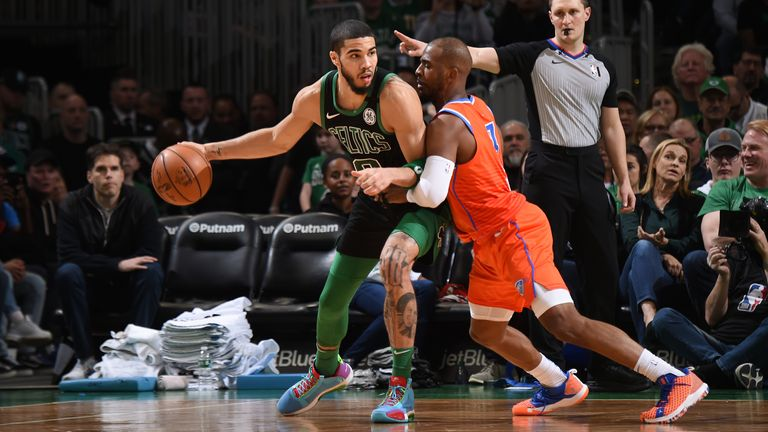 Jayson Tatum of the Boston Celtics handles the ball against the Oklahoma City Thunder