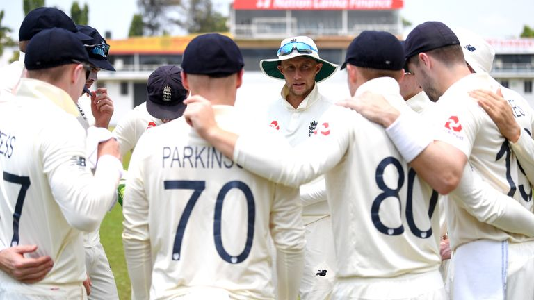 England captain Joe Root speaks to his players in a huddle during their warm-up match against a Sri Lanka Cricket Board President's XI