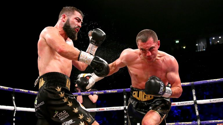 MANCHESTER, ENGLAND - MARCH 07: Scott Quigg Jono Carroll during the Super-Featherweight contest at Manchester Arena on March 07, 2020 in Manchester, England. (Photo by Alex Livesey/Getty Images)