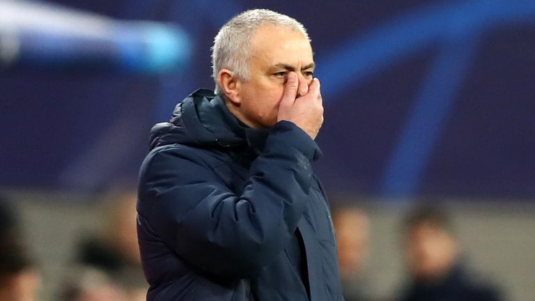 Jose Mourinho on the touchline during Spurs' Champions League tie at RB Leipzig