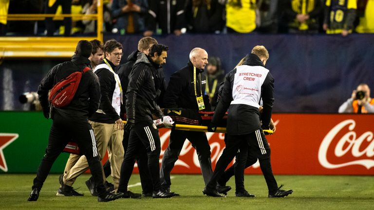 Josef Martinez of Atlanta United is stretchered off in their MLS match with Nashville