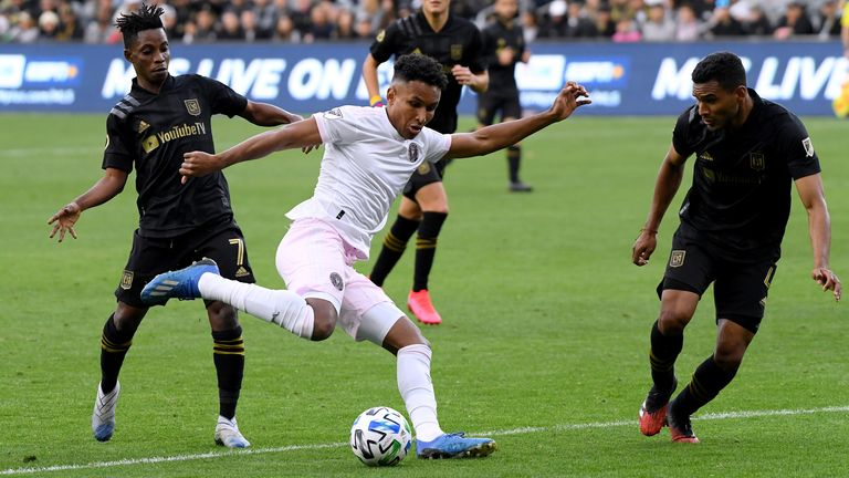 Juan Agudelo of Inter Miami CF attempts a shot in front