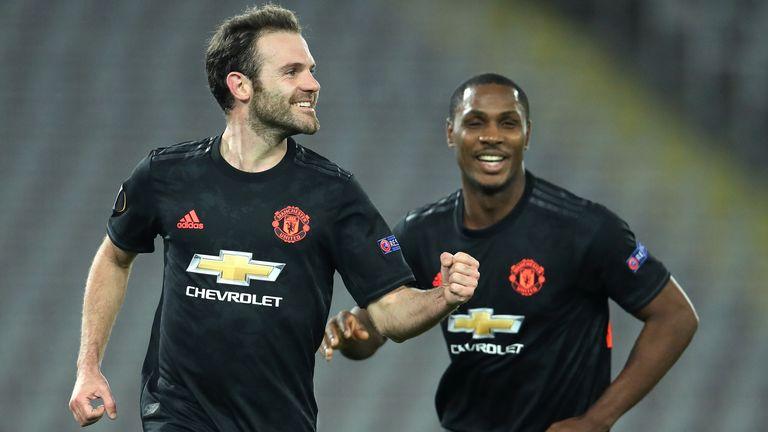 Juan Mata celebrates scoring for Manchester United against LASK