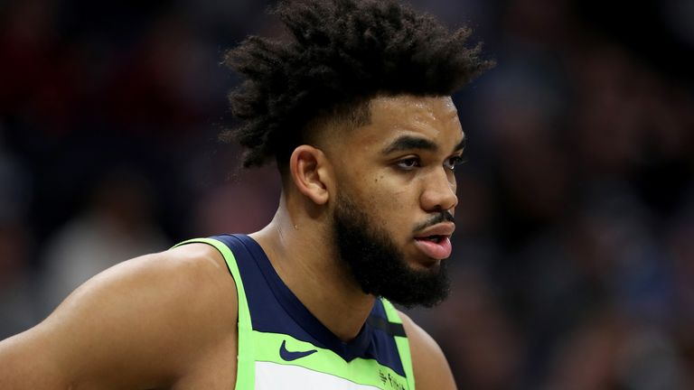 Karl-Anthony Towns in action for the Minnesota Timberwolves