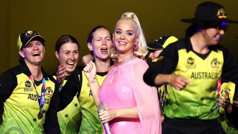 Katy Perry and Australia Women at T20 World Cup final