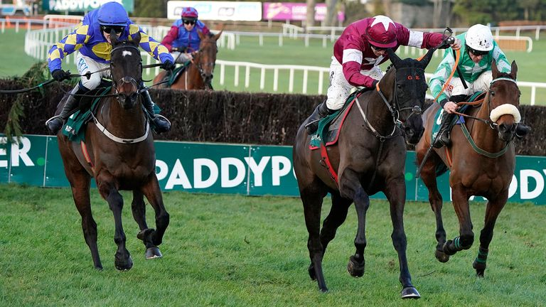 Kemboy (L) challenges Delta Work (C) and Presenting Percy (R) at Leopardstown in February