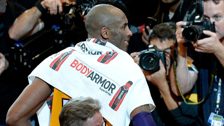 Kobe Bryant pictured after his final NBA game in April 2016
