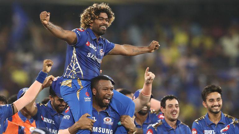 The Mumbai Indians celebrate winning the 2019 IPL