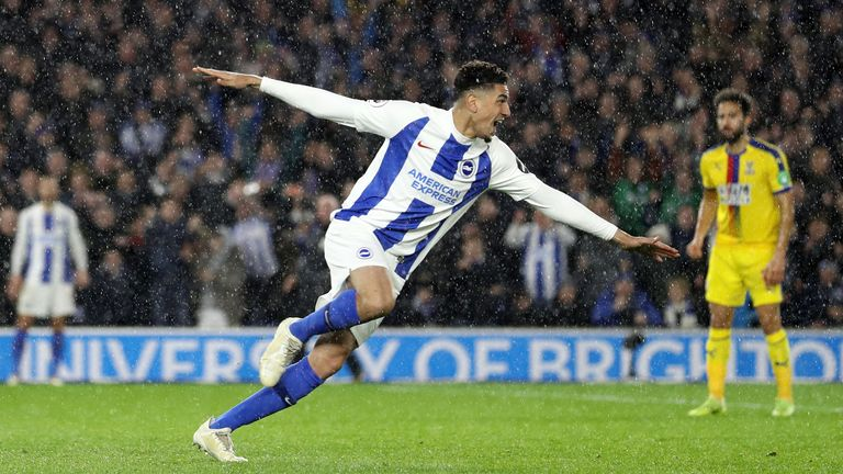 Balogun celebrating his goal for Brighton against Crystal Palace
