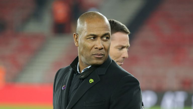 Ex-player Les Ferdinand looks on before the Premier League match between Southampton FC and Norwich City at St Mary's Stadium on December 04, 2019 in Southampton, United Kingdom