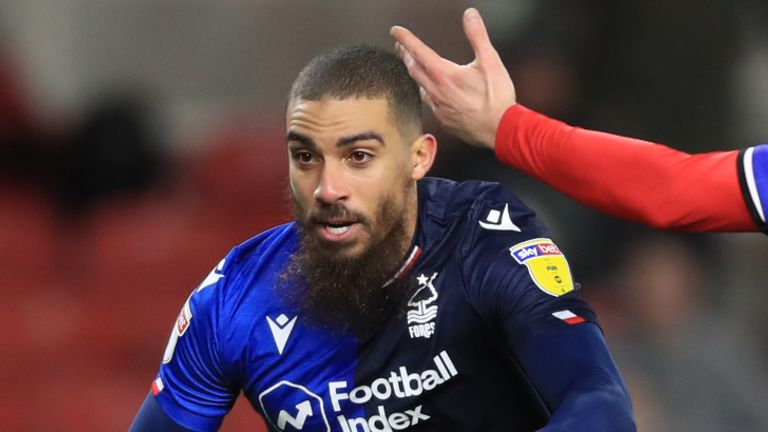 "Nottingham Forest's Lewis Grabban celebrates scoring his side's second goal of the game during the Sky Bet Championship match at the Riverside Stadium, Middlesbrough. PA Photo. Picture date: Monday March 2, 2020. See PA story SOCCER Middlesbrough. Photo credit should read: Owen Humphreys/PA Wire. RESTRICTIONS: EDITORIAL USE ONLY No use with unauthorised audio, video, data, fixture lists, club/league logos or ""live"" services. Online in-match use limited to 120 images, no video emulation. No use in betting, games or single club/league/player publications."