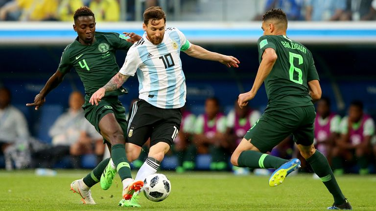 Balogun in action for Nigeria against Lionel Messi at the 2018 World Cup