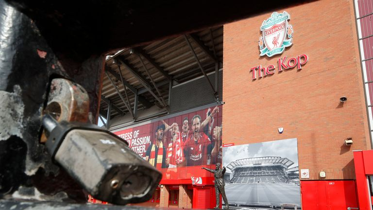 A general view of a locked gate at Anfield