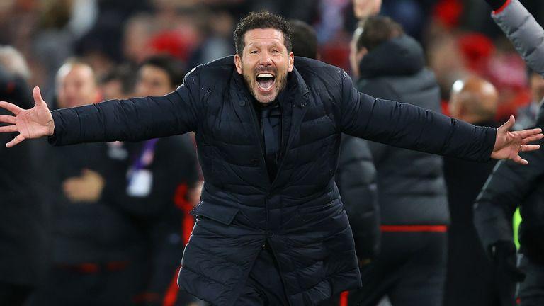 Diego Simeone celebrates at Anfield