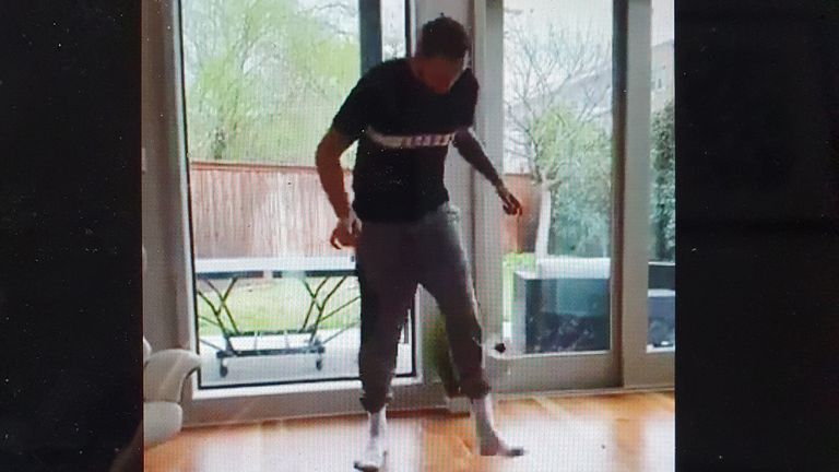 Luka Doncic takes part in the Stay At Home Challenge - credit @anamariagoltes
