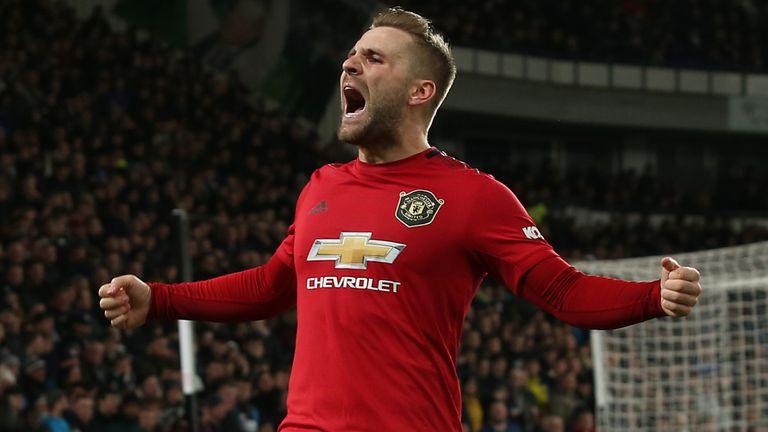 Luke Shaw celebrates scoring for Manchester United against Derby