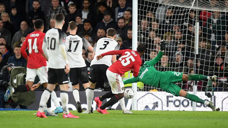 Odion Ighalo scores his first goal against Derby