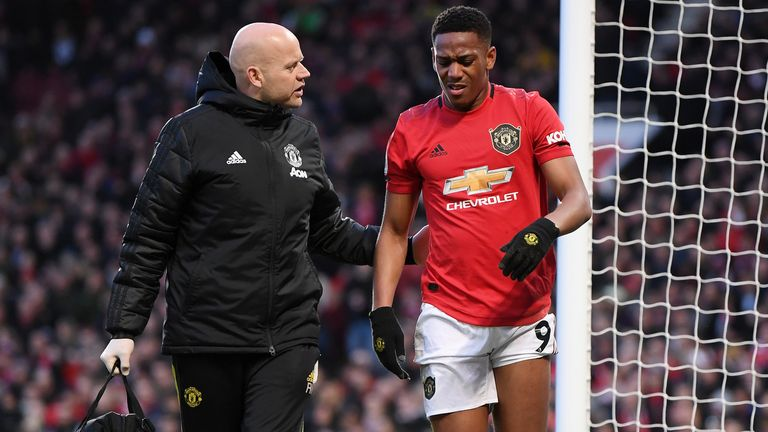 Anthony Martial injured himself during the Manchester derby on Sunday