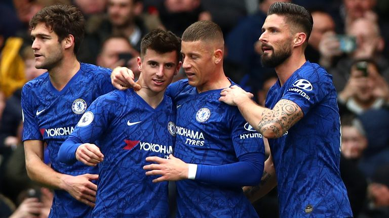 Mason Mount celebrates scoring for Chelsea against Everton