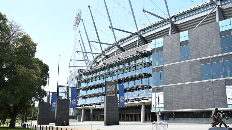 A general view of the MCG as it sits idle after the AFL season was suspended, on March 28, 2020 in Melbourne, Australia. Due to the Covid 19 Pandemic and related restrictions in place around Australia, the majority of local, community and domestic organised sport has been postponed and cancelled, leaving empty fields and stadiums across Melbourne.