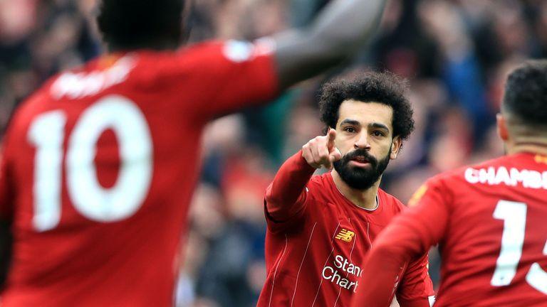 Mohamed Salah celebrates scoring Liverpool's equaliser