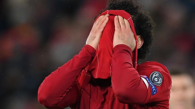 Mohamed Salah reacts to a missed chance against Atletico Madrid