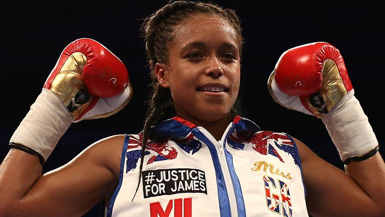 Natasha Jonas celebrates a points win against Feriche Mashauri during their lightweight bout at M&S Bank Arena on March 30, 2019 in Liverpool, England