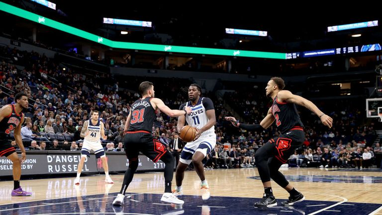 Naz Reid #11 of the Minnesota Timberwolves drives to the basket against the Chicago Bulls on March 4, 2020 at Target Center in Minneapolis, Minnesota.