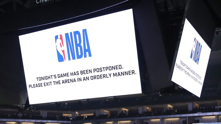 The scoreboard at Sacramento's Golden 1 Center announces the postponement of Pelicans @ Kings