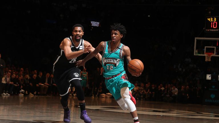 Ja Morant #12 of the Memphis Grizzlies drives to the basket against the Brooklyn Nets on March 4, 2020 at Barclays Center in Brooklyn, New York.