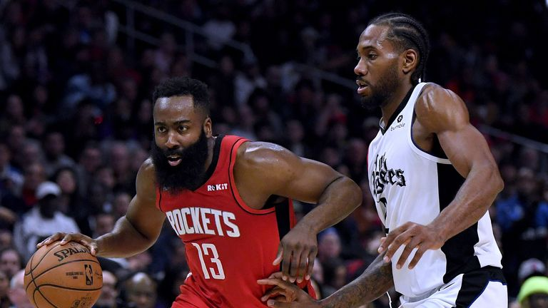 James Harden (L) and Kawhi Leonard are set to clash when the Clippers visit the Rockets