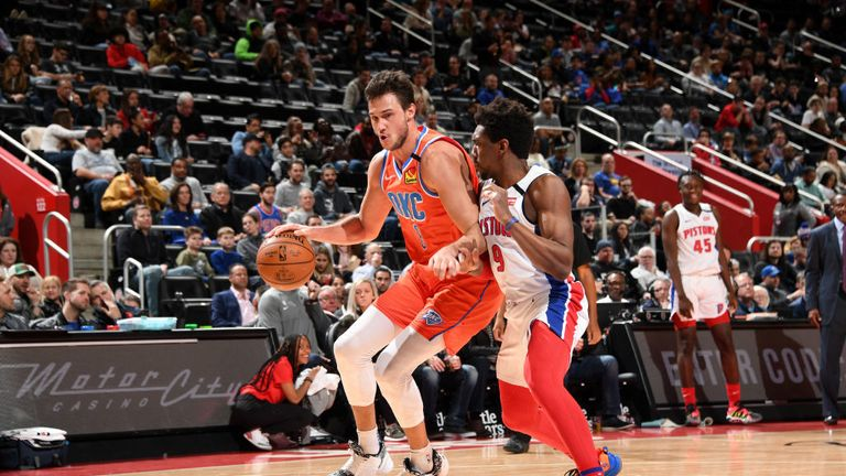 Danilo Gallinari #8 of the Oklahoma City Thunder handles the ball against the Detroit Pistons on March 04, 2020 at Little Caesars Arena in Detroit, Michigan.