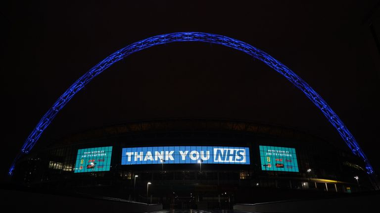 Wembley has been lighting up in blue in a show of appreciation to NHS staff