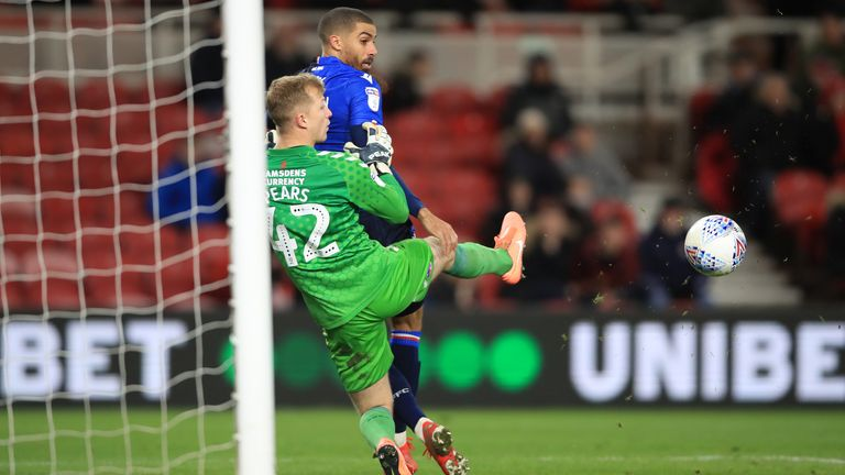 """Nottingham Forest's Lewis Grabban scores his side's second goal of the game during the Sky Bet Championship match at the Riverside Stadium, Middlesbrough. PA Photo. Picture date: Monday March 2, 2020. See PA story SOCCER Middlesbrough. Photo credit should read: Owen Humphreys/PA Wire. RESTRICTIONS: EDITORIAL USE ONLY No use with unauthorised audio, video, data, fixture lists, club/league logos or """"live"""" services. Online in-match use limited to 120 images, no video emulation. No use in betting, games or single club/league/player publications."""