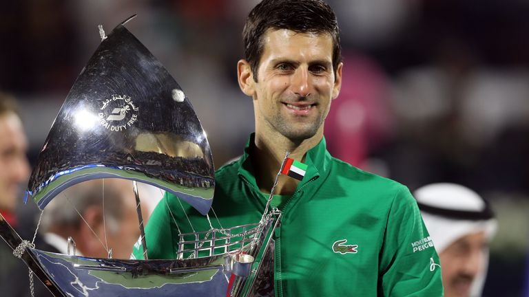 Novak Djokovic has not played since beating Stefanos Tsitsipas in the final of the Dubai Tennis Championships in February