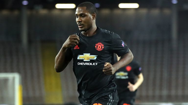 Odion Ighalo celebrates scoring for Manchester United vs LASK