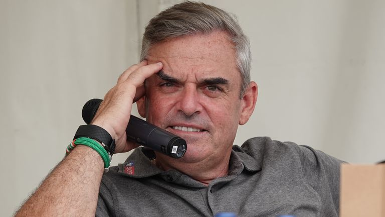 LYTHAM ST ANNES, ENGLAND - JULY 26: Former Ryder Cup Captain Paul McGinley of Ireland entertains the crowd in Alastair Nicol's Question Time during the second round of the Senior Open played at Royal Lytham & St. Annes on July 26, 2019 in Lytham St Annes, England. (Photo by Phil Inglis/Getty Images)