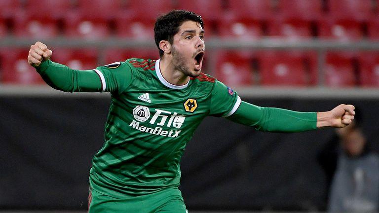 Pedro Neto celebrates scoring for Wolves against Olympiakos