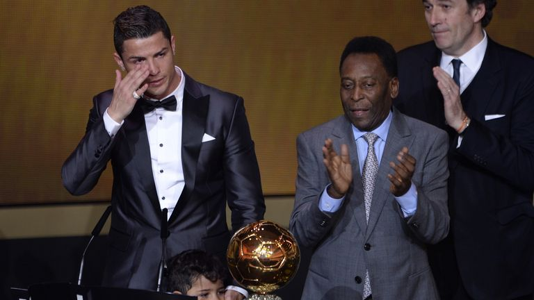Ronaldo was visibly emotional at receiving the Ballon D'or from Pele in 2013