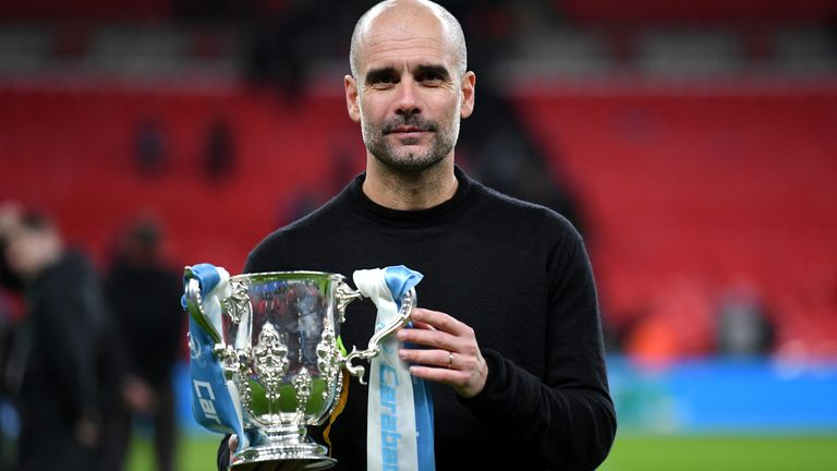 Manchester City manager Pep Guardiola with the Carabao Cup