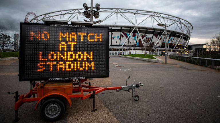 A message outside the London Stadium reads 'No Match At London Stadium'
