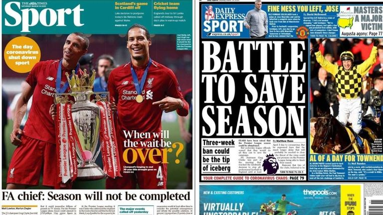 The Times and the Daily Express report fears the domestic football season may be over