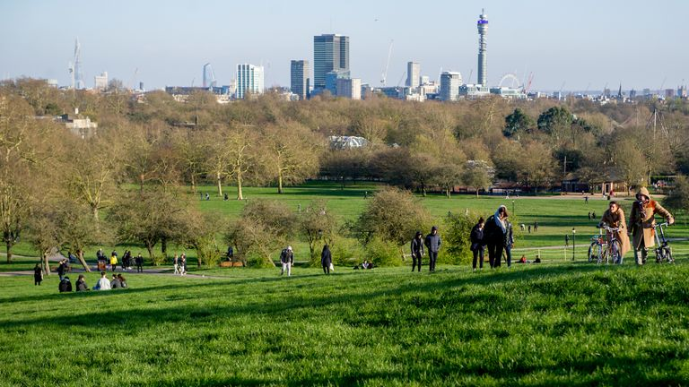 Primrose Hill in north London was among the parks busy with people on Sunday