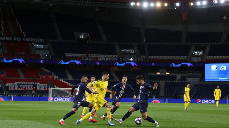 Paris Saint-Germain and Borussia Dortmund's Champions League last-16 second leg was played behind closed doors in France.