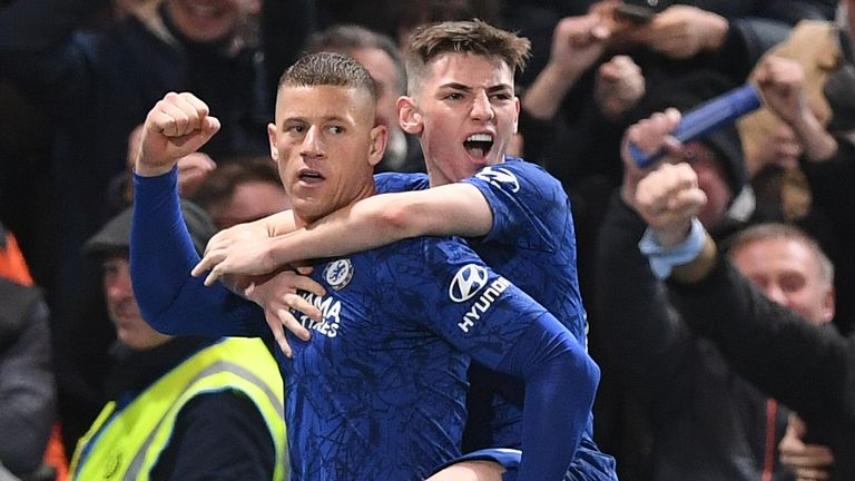 Ross Barkley and Gilmour celebrate Chelsea's second goal on Tuesday night