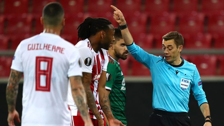 Ruben Semedo was sent off for Olympiakos against Wolves in the Europa League