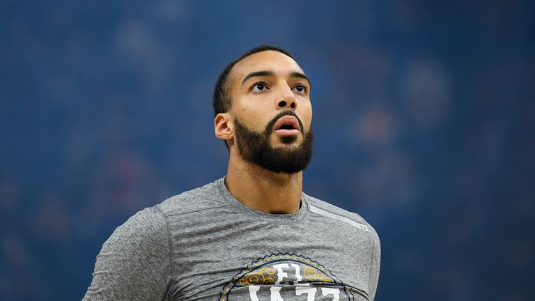 Rudy Gobert #27 of the Utah Jazz looks on before a game against the Toronto Raptors at Vivint Smart Home Arena on March 9, 2020 in Salt Lake City, Utah.