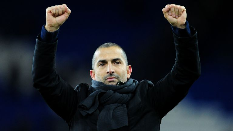 CARDIFF, WALES - FEBRUARY 25: Sabri Lamouchi Manager of Nottingham Forrest celebrates at full time during the Sky Bet Championship match between Cardiff City and Nottingham Forest at the Cardiff City Stadium on February 25, 2020 in Cardiff, Wales. (Photo by Athena Pictures/Getty Images)