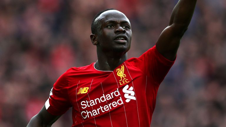 Sadio Mane of Liverpool celebrates after scoring   between Liverpool FC and Bournemouth at Anfield