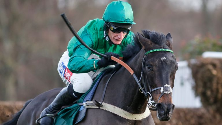 ESHER, ENGLAND - DECEMBER 09:  Daryl Jacob riding Sceau Royal clear the last to win The Randoxhealth.com Henry VII Novices... Steeple Chase at Sandown Park racecourse on December 9, 2017 in Esher, United Kingdom. (Photo by Alan Crowhurst/Getty Images) *** Local Caption *** Daryl Jacob;Sceau Royal